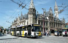 ACEC/Van Hool trolleybus at Korenmarkt
