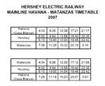 Расписание интерурбана по линии Гавана - Матанзас на 2007 г.