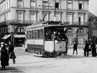 Calssic electric tramway in Place Alexandre III