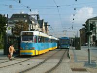Tatra CKD T3DM+T3DM+B3DM Tram at Hauptbahnhof