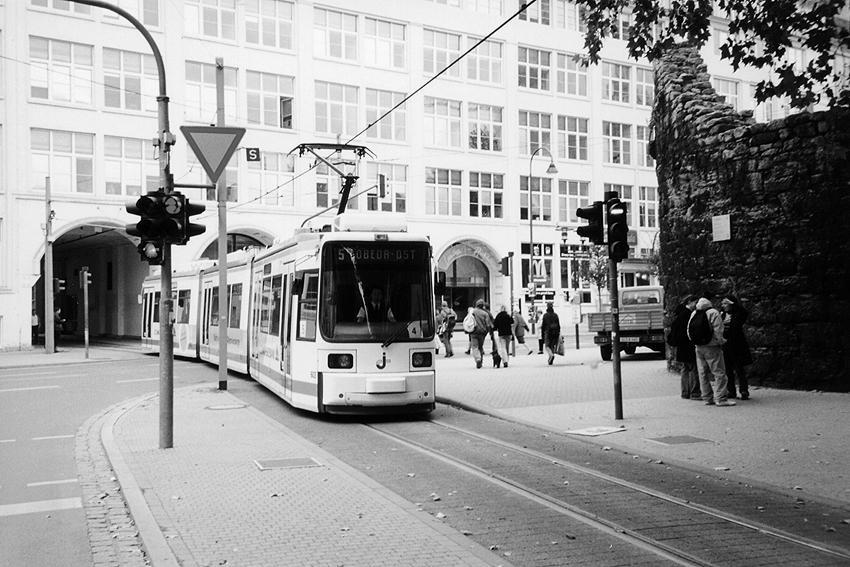Streetcar through building