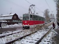 KTM-5M3 tram on Griboedova Ul., the Studgorodok line
