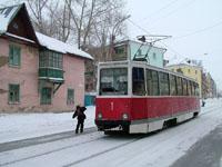 KTM-5M3 tram at Popova Ul. / Molodezhnaya Ul. serving the East - West Line 1