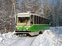 Spektr 71-402 tram in the taiga forest between Lesnaya Volchanka and Volchanka