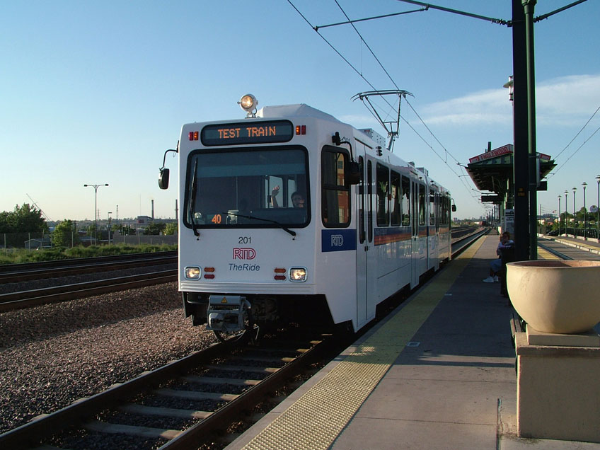 Siemens SD100 LRV of new 200 series is tested at Littleton - Downtown Station